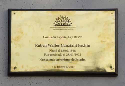 Placa de la Memoria para Walter Canziani