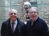 Adolfo Elizaincín y Miguel Ángel Garrido Gallardo en la Fundación Pizarro